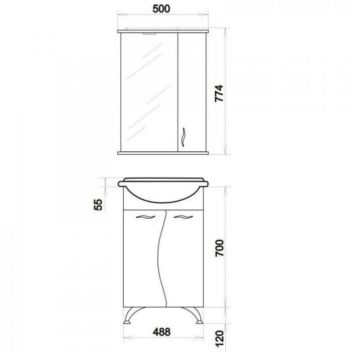 Комплект мебели для ванной комнаты ORIO Диана 50 (цвет белый)
