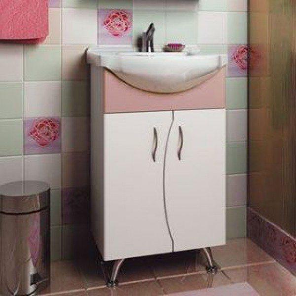 Тумба с раковиной для ванной комнаты ORIO Диана 50 (цвет белый/абрикос)