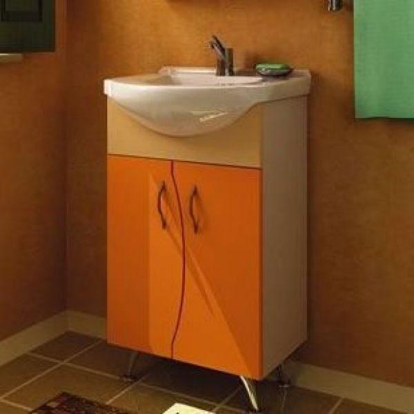 Тумба с раковиной для ванной комнаты ORIO Диана 50 (цвет мандарин/бежевый)