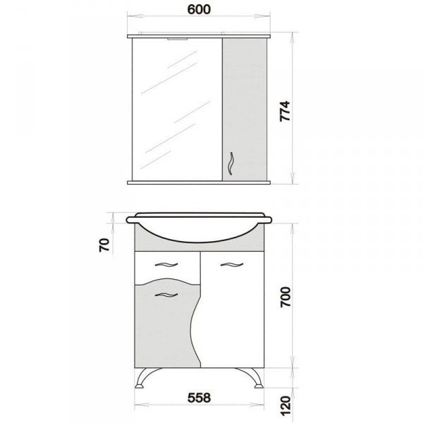 Комплект мебели для ванной комнаты ORIO Диана 60 (цвет мандарин/бежевый)