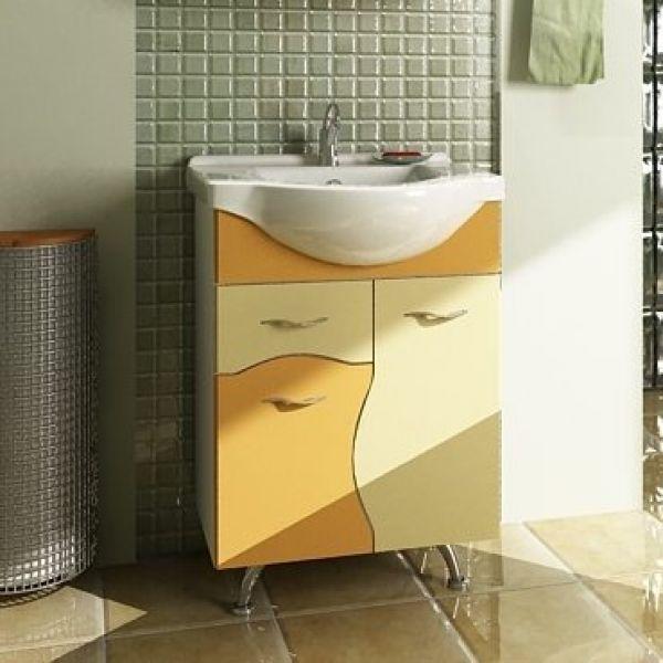 Тумба с раковиной для ванной комнаты ORIO Диана 60 (цвет мандарин/бежевый)