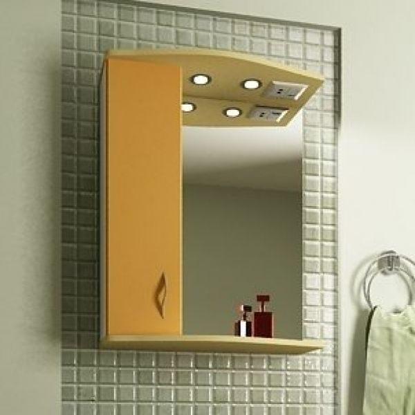 Зеркало для ванной комнаты ORIO Диана 60 (цвет мандарин/бежевый)