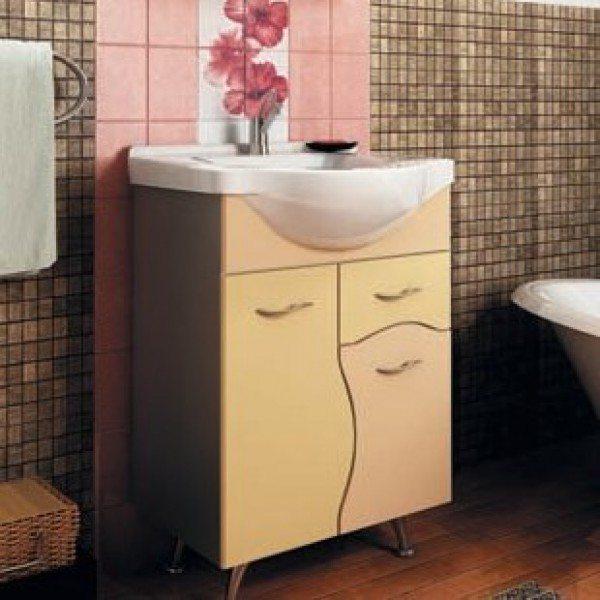 Тумба с раковиной для ванной комнаты ORIO Диана 60 (цвет абрикос/бежевый)