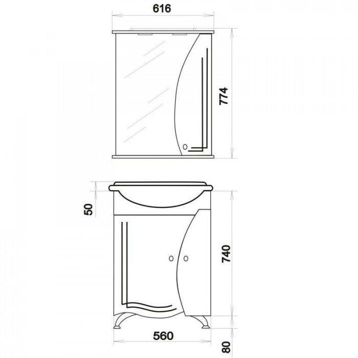 Комплект мебели для ванной комнаты ORIO Камея 60 (цвет белый)