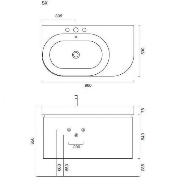 Тумба для ванной Berloni Bagno DAY BS05 405 (отделка шпон, цвет светлый дуб)