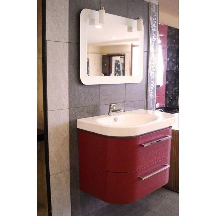 Комплект мебели для ванной комнаты Berloni Bagno DAY BS05 SX 411+SE02 (цвет 411 rosso-красный, отделка шпон)