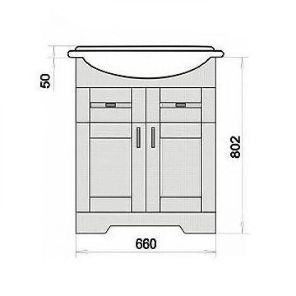 Тумба с раковиной для ванной комнаты ORIO Кристи 70 (цвет антик бежевый)