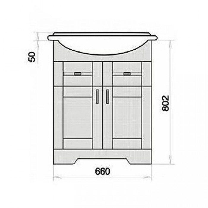 Тумба с раковиной для ванной комнаты ORIO Кристи 70 (цвет антик черный)