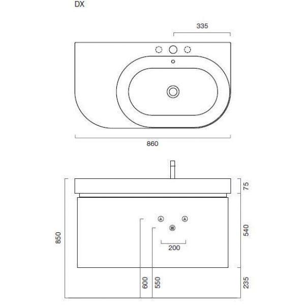 Комплект мебели для ванной комнаты Berloni Bagno DAY BS05 DX 411+SE02 (цвет 411 rosso-красный, отделка шпон)