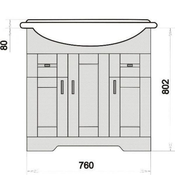 Тумба с раковиной для ванной комнаты ORIO Кристи 80 (цвет антик черный)