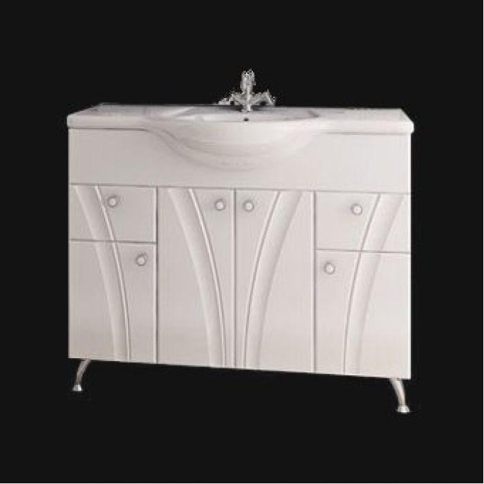 Тумба с раковиной для ванной комнаты ORIO Лотос 105 (цвет белый)