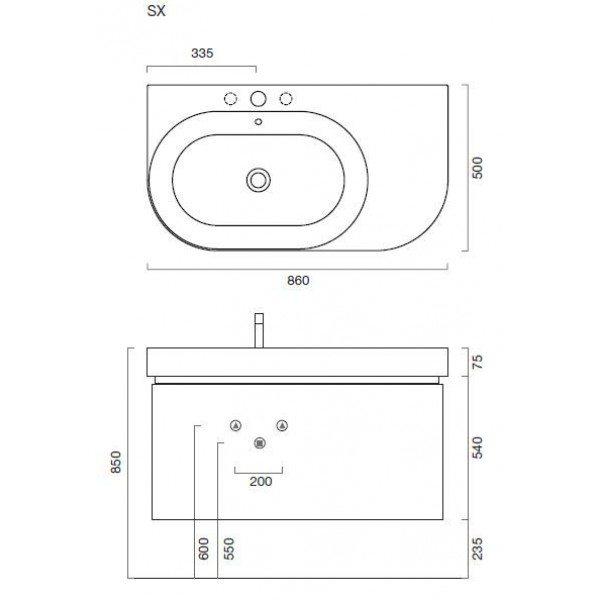 Комплект мебели для ванной комнаты Berloni Bagno DAY BS05 SX 410+SE02 (цвет 410 grigio-серый)