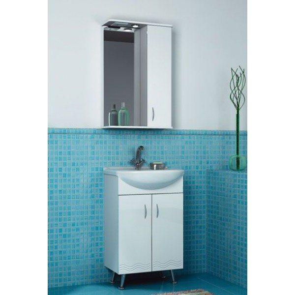 Комплект мебели для ванной комнаты ORIO Сити Волна 50 (цвет белый, рельеф волна)