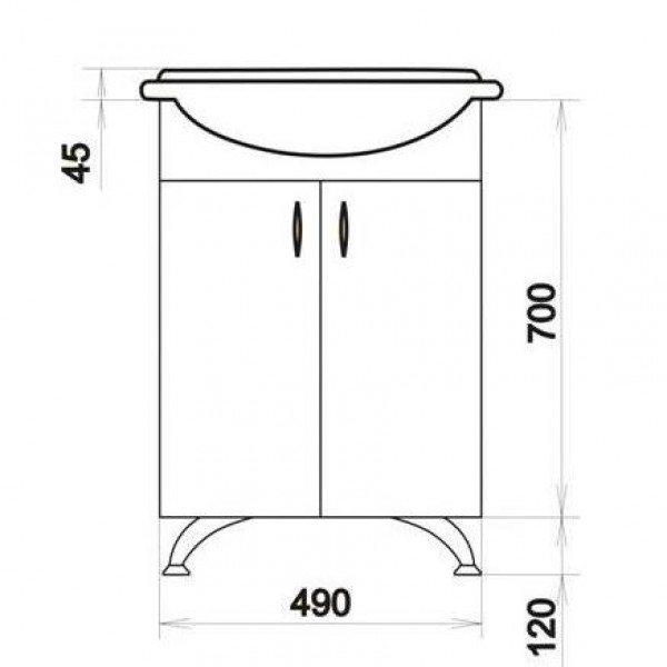 Тумба с раковиной для ванной комнаты ORIO Сити Волна 50 (цвет белый, рельеф волна)