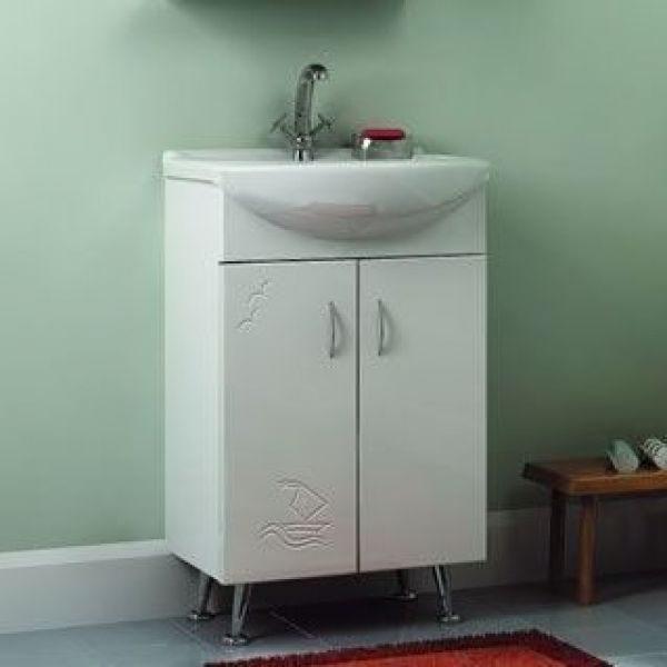 Тумба с раковиной для ванной комнаты ORIO Сити Прибой 50 (цвет белый)