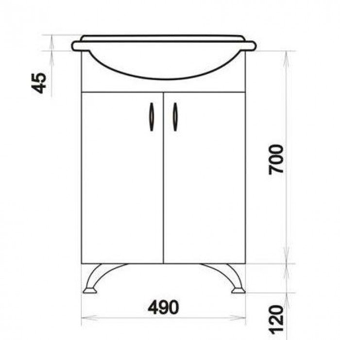 Тумба с раковиной для ванной комнаты ORIO Сити 50 Подводный мир (цвет белый)