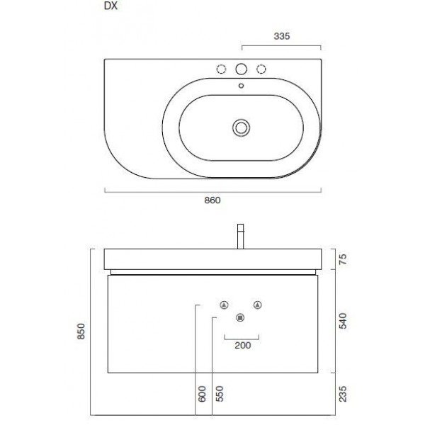 Тумба для ванной Berloni Bagno DAY BS05 (цвет 410 grigio-серый)