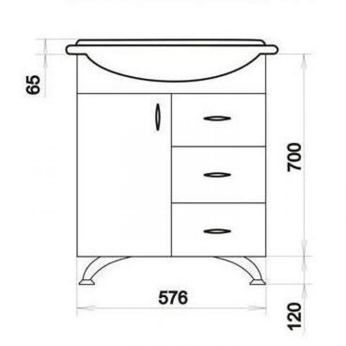Тумба с раковиной для ванной комнаты ORIO Сити 60 с ящиками (цвет белый)