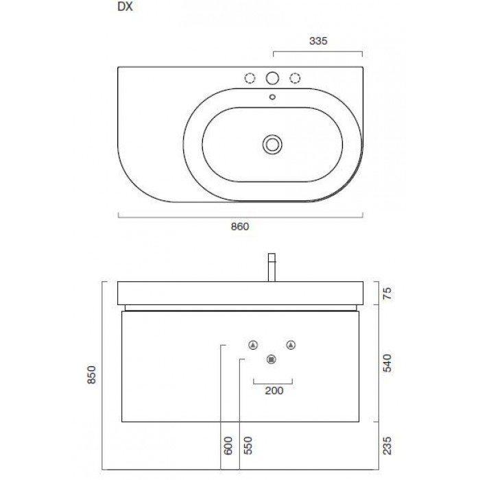 Комплект мебели для ванной Berloni Bagno DAY BS05 DX+SE02 (цвет 409 bianco-белый)