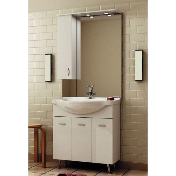 Комплект мебели для ванной ORIO Сити 80 с корзиной для белья (цвет белый)