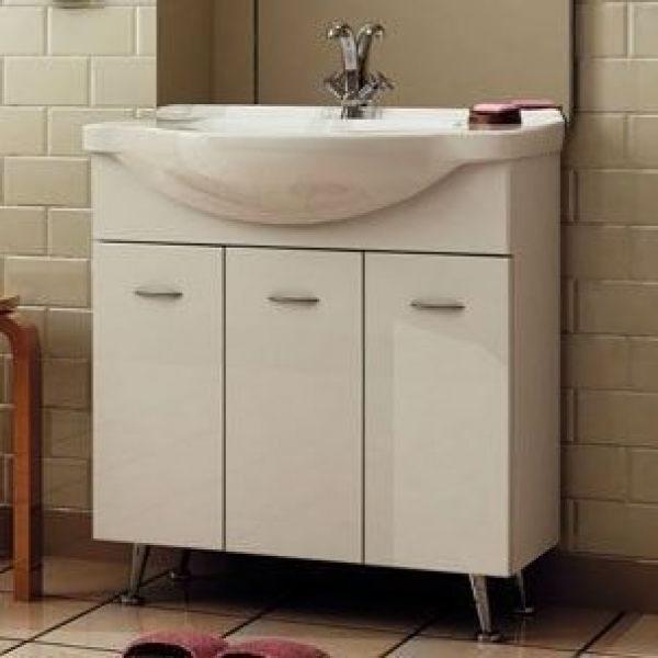 Тумба с раковиной для ванной комнаты ORIO Сити 80 с корзиной для белья (цвет белый)