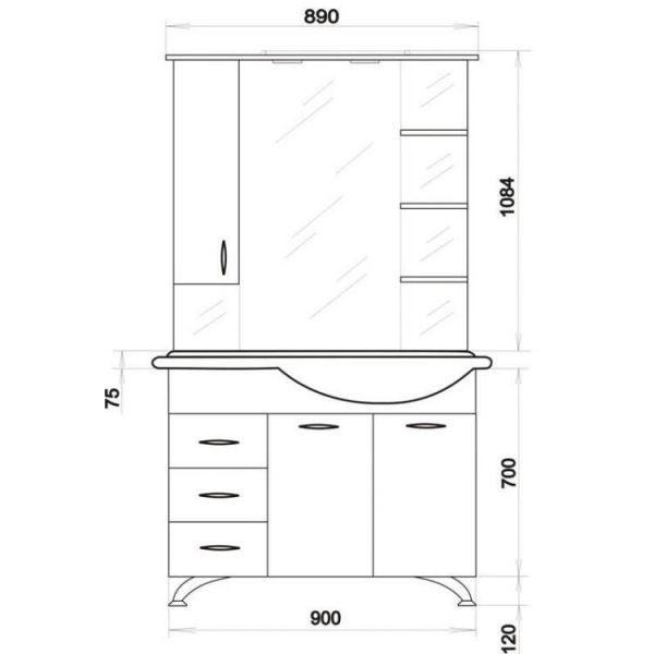 Комплект мебели для ванной ORIO Сити 92 (цвет белый)