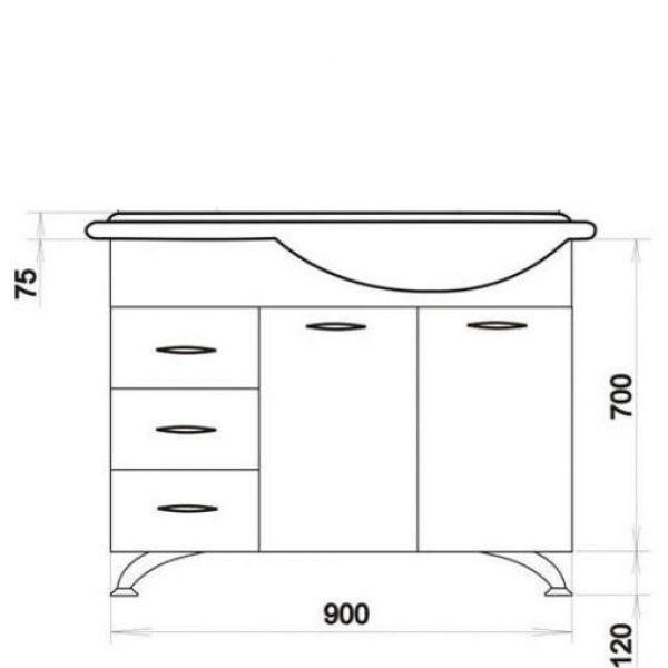 Тумба с раковиной для ванной комнаты ORIO Сити 92 с корзиной для белья (цвет белый)