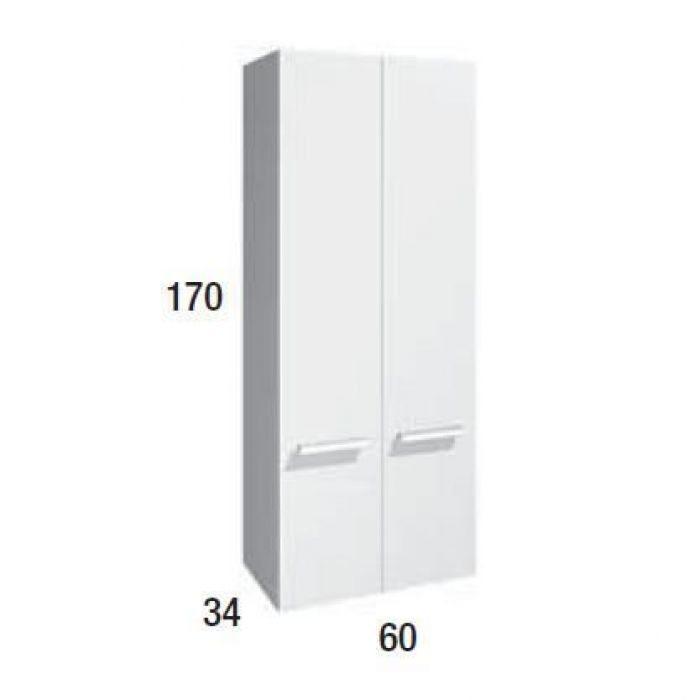 Шкаф пенал для ванной Berloni Bagno WALL CS02 (цвет 1405 - серый, отделка шпон)