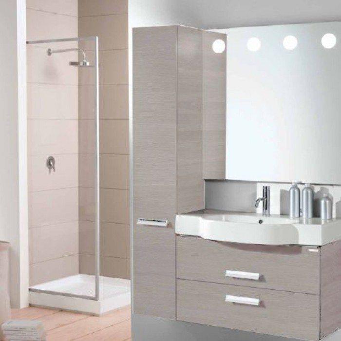 Пенал для ванной Berloni Bagno WALL CS01 (цвет 1405 - серый, отделка ламинат)