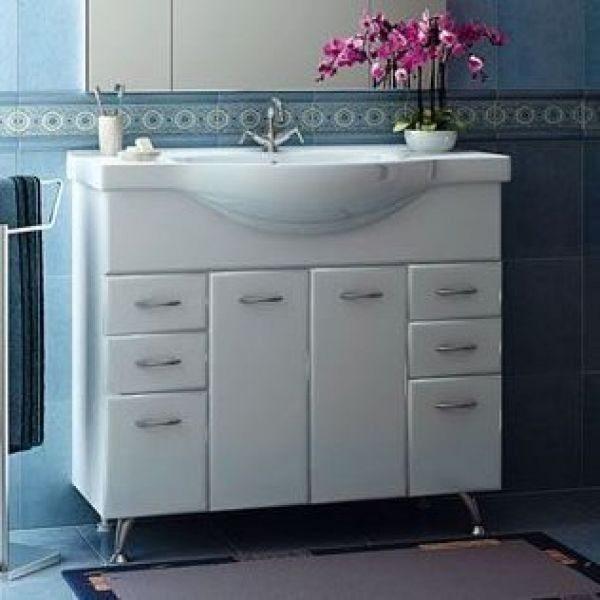 Тумба с раковиной для ванной комнаты ORIO Сити 95 (цвет белый)
