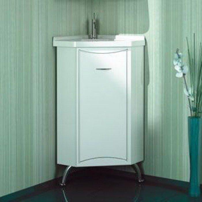 Тумба угловая с раковиной для ванной комнаты ORIO Стиль 40 (цвет белый)
