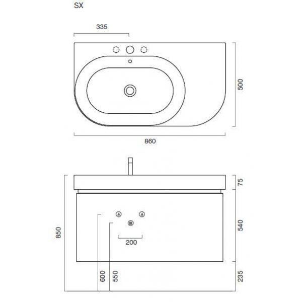 Комплект мебели для ванной Berloni Bagno DAY BS05 SX 412+SE02 (цвет 412 celeste-небесно голубой, отделка шпон)
