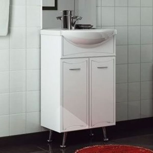 Тумба с раковиной для ванной комнаты ORIO Стиль 55 с корзиной для белья (цвет белый)