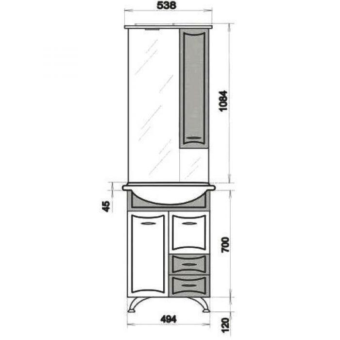 Комплект мебели для ванной ORIO Стиль 55 (цвет синий/белый)