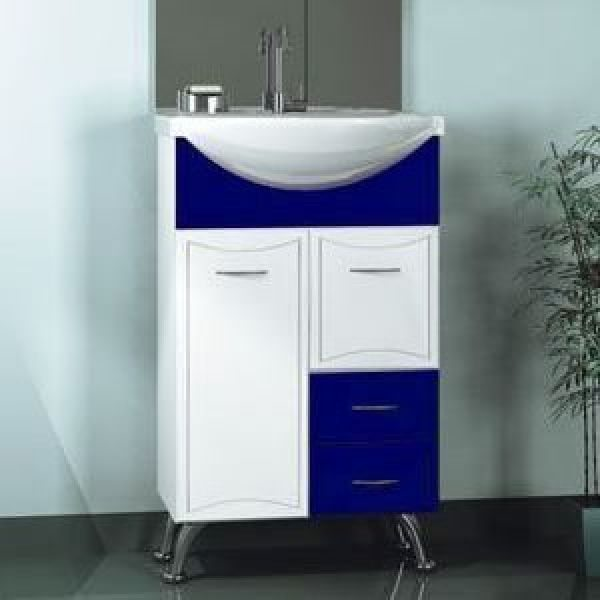 Тумба с раковиной для ванной комнаты ORIO Стиль 55 (цвет синий/белый)