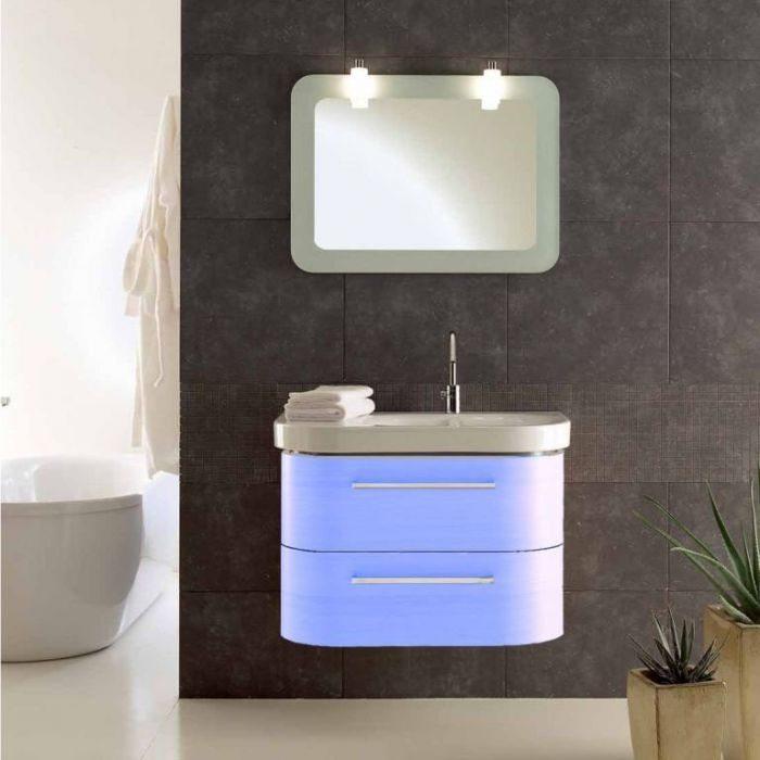 Комплект мебели для ванной Berloni Bagno DAY BS05 DX 412+SE02 (цвет 412 celeste-небесно голубой, отделка шпон)