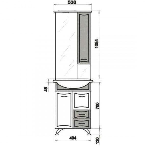 Комплект мебели для ванной ORIO Стиль 55 (цвет фисташка/белый)