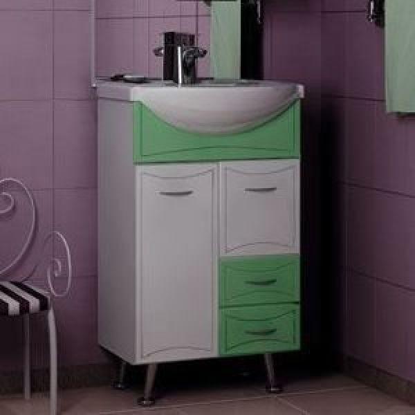 Тумба с раковиной для ванной комнаты ORIO Стиль 55 (цвет фисташка/белый)