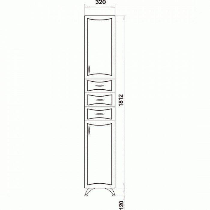 Пенал для ванной ORIO Стиль 31 (цвет фисташка/белый)