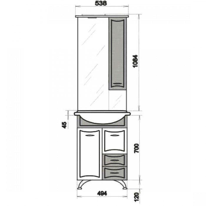 Комплект мебели для ванной ORIO Стиль 55 (цвет бежевый/белый)