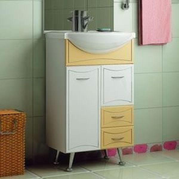 Тумба с раковиной для ванной комнаты ORIO Стиль 55 (цвет бежевый/белый)
