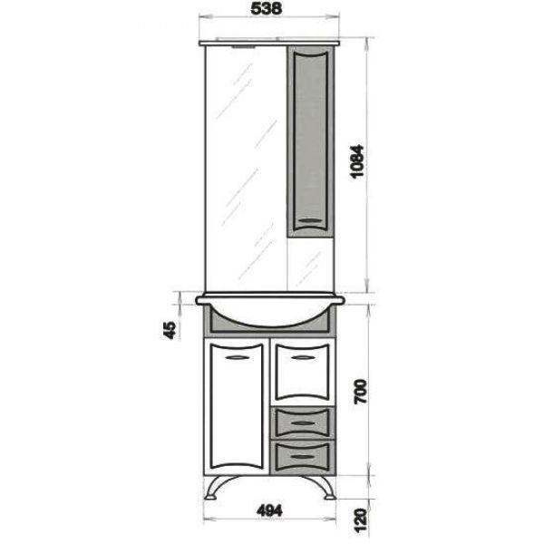 Комплект мебели для ванной ORIO Стиль 55 (цвет бордовый/белый)