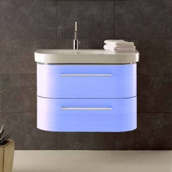 Тумба для ванной Berloni Bagno DAY BS05 (цвет 412 celeste-небесно голубой, отделка шпон)