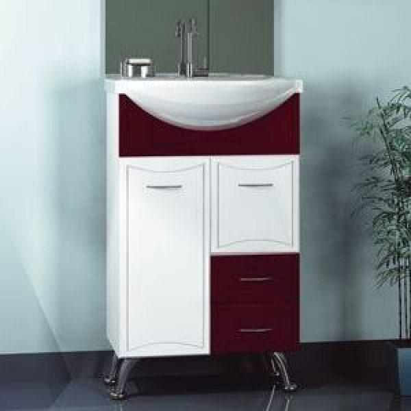 Тумба с раковиной для ванной комнаты ORIO Стиль 55 (цвет бордо/белый)