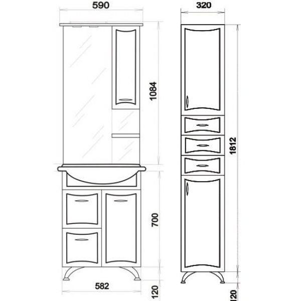 Комплект мебели для ванной ORIO Стиль 60 с пеналом и корзиной для белья (цвет белый)