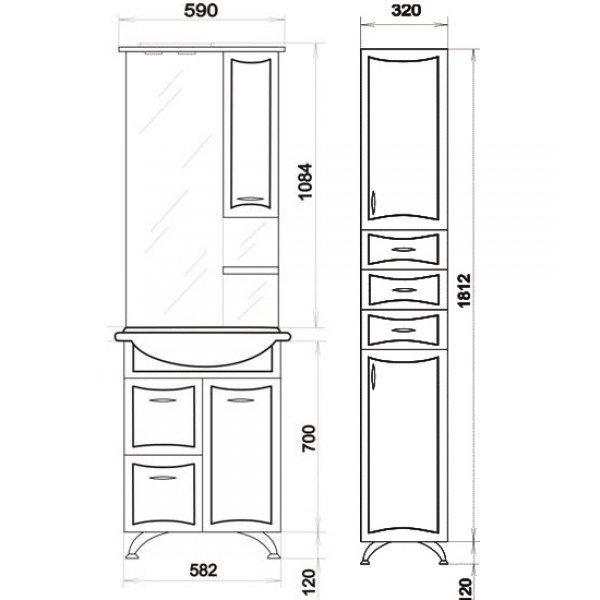 Комплект мебели для ванной ORIO Стиль 60 с корзиной для белья (цвет белый)