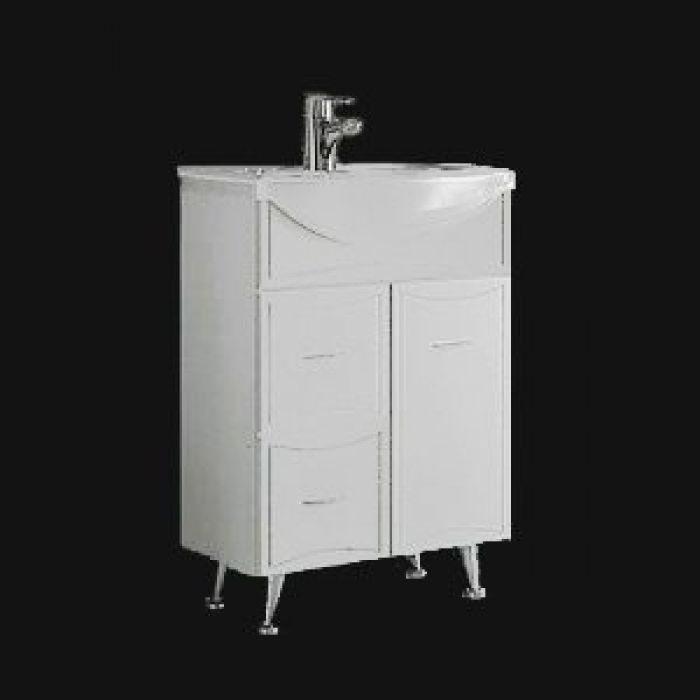 Тумба с раковиной для ванной комнаты ORIO Стиль 60 с корзиной для белья (цвет белый)
