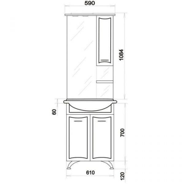 Комплект мебели для ванной ORIO Стиль 65 (цвет белый)