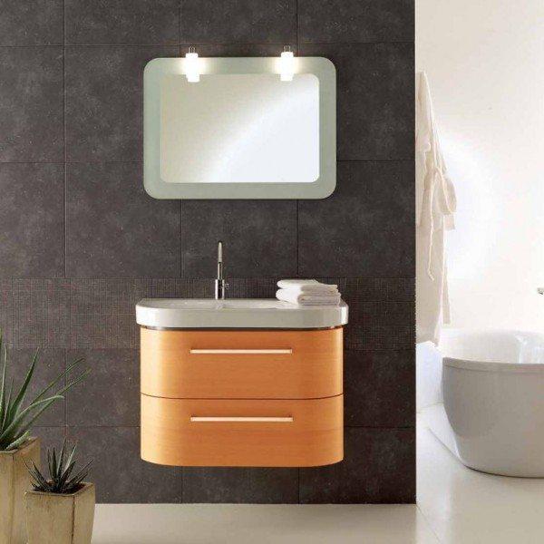 Комплект мебели для ванной Berloni Bagno DAY BS05 SX 413+SE02 (цвет 413 ciliegio-вишня, отделка шпон)