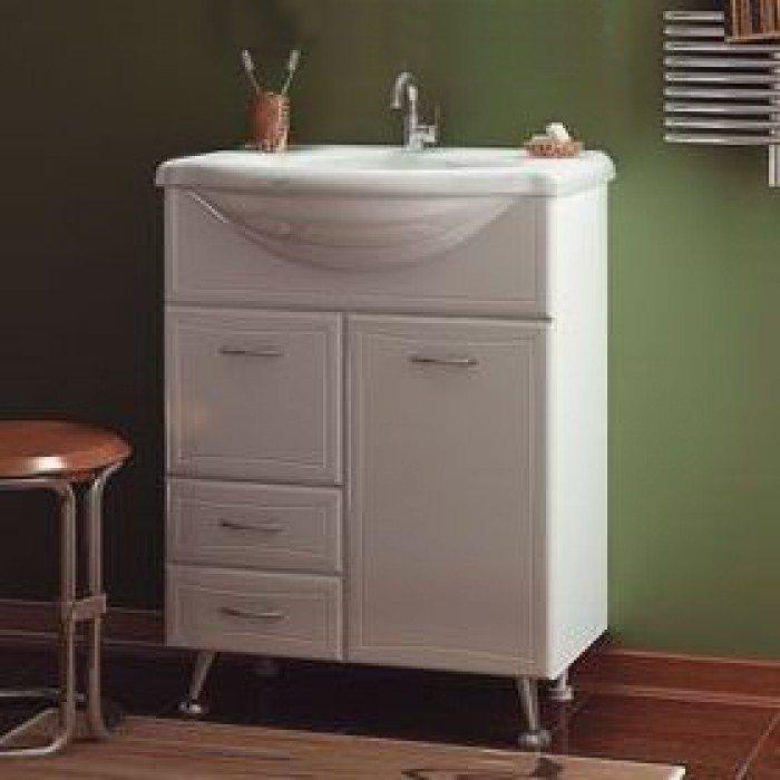 Тумба с раковиной для ванной комнаты ORIO Стиль 65 с корзиной для белья (цвет белый)